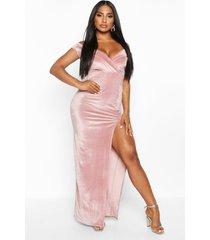 velvet bardot maxi dress, rose