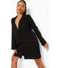 blazer jurk met metalen ringetjes, black