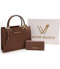 kit bolsa londres + carteira victor valencia feminina