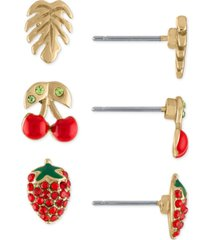 rachel rachel roy gold-tone 3-pc. set tropical stud earrings