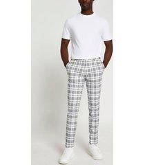 river island mens ecru & navy check super skinny fit pants