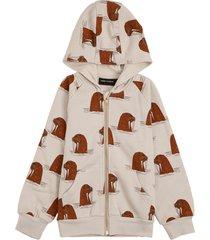 mini rodini grey cotton hoodie with walrus allvoer print