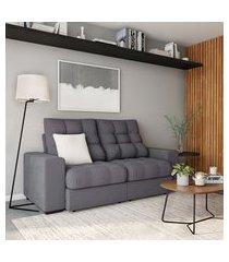sofá 3 lugares retrátil e reclinável bordéus suede grafite
