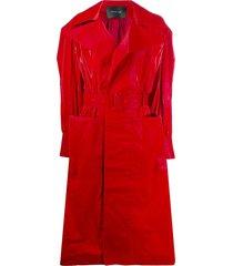 mugler belted vinyl trench coat - red