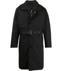solid homme belted rain coat - black