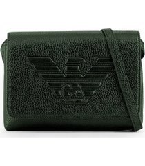 emporio armani maxi logo green shoulder bag