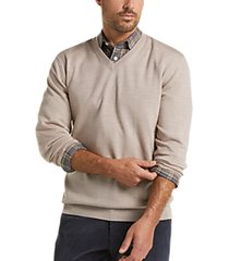 joseph abboud oatmeal v-neck merino wool sweater