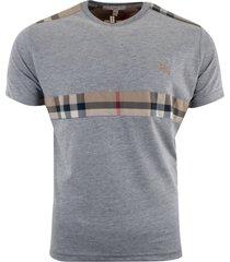 burberry brit men's patch nova check short sleeve t-shirt gray size s, m, l, xl