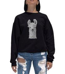 women's word art crewneck llama sweatshirt
