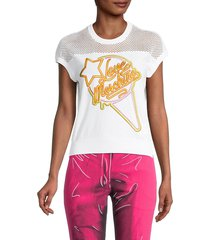 love moschino women's mesh embroidered logo t-shirt - optical white - size 42 (8)