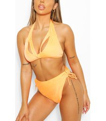 mix & match driehoekige bikini top met split, oranje