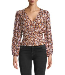astr the label women's ruched floral empire top - rust purple - size xl