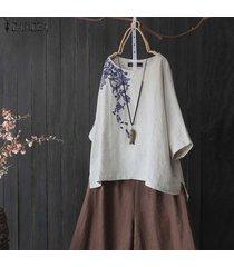 zanzea verano de las mujeres más el tamaño de bordado camisetas superiores camisa de la manera señoras de la blusa -gris claro