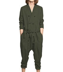 yoins basics traje de mameluco informal de manga larga con cuello en v liso para hombre pantalones mono