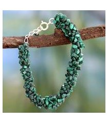 malachite beaded bracelet, 'magic forest' (india)