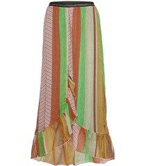 skirt w. frills in stroke print w. lång kjol multi/mönstrad coster copenhagen