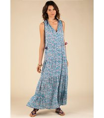 poupette st barth long clara dress blue cerise