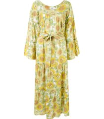 bambah sunflower print kaftan dress - multicolour