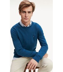 tommy hilfiger men's classic crewneck sweater mariner blue heather - m