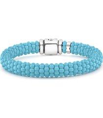 lagos blue caviar ceramic rope bracelet, size 6 in in silver/blue at nordstrom
