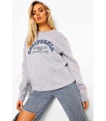 california varsity sweater met tekst, grey marl