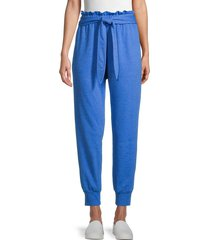 bcbgeneration women's french terry belted joggers - steel blue - size l