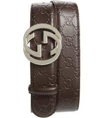 men's gucci logo embossed leather belt, size 110 eu - brown