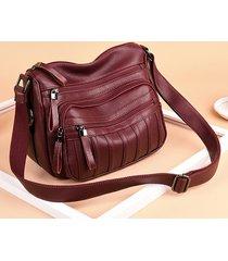 borsa a tracolla multi-tasca in pelle pu vintage borsa da donna borsa