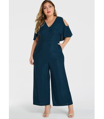 yoins plus tamaño blue ruffle trim cold shoulder overlay mono
