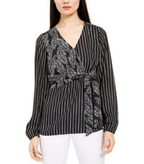 alfani mixed-print wrap-bust top, created for macy's