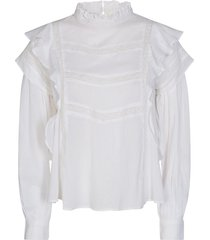 blouse met ruches liana  wit