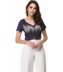 t shirt zaiko rosê com tela manga curta 1948 azul marinho