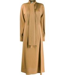 victoria beckham neck tie flared midi dress - brown