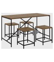 conjunto mesa c/ 4 bancos quadra vermont/preto industrial -artesano