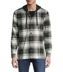 john varvatos star u.s.a. men's holger easy-fit plaid shirt jacket - black white - size m