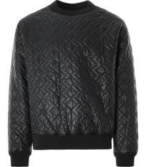 monitaly quilted crewneck pullover zigzag dotera fill 3oz | black | m28502-blk