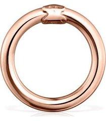 anilla mediana hold de plata vermeil rosa