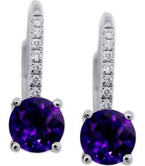 amethyst (1-1/2 ct. t.w.) & diamond (1/10 ct. t.w.) drop earrings in 14k white gold