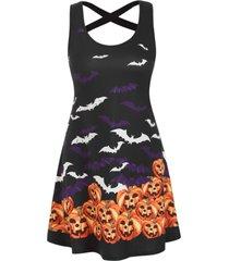 halloween pumpkin bat print criss cross dress