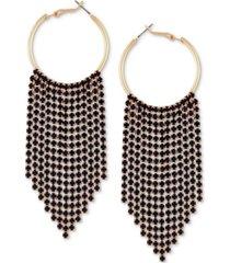 guess gold-tone crystal fringe dangle hoop earrings