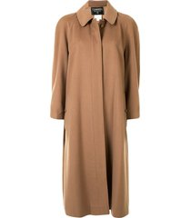 chanel pre-owned 1998 below-the-knee straight-fit coat - brown