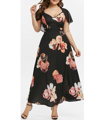 plus size floral print mesh cape dress