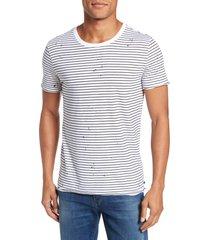 men's ag julian slim fit stripe raw t-shirt, size medium - white