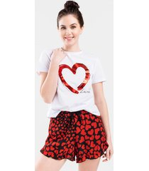 rosie heart front tie lounge shorts - red