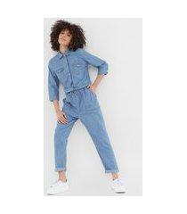 macacão jeans malwee slim utilitário azul