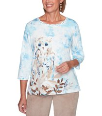 alfred dunner petite dover cliffs snowy owl printed top