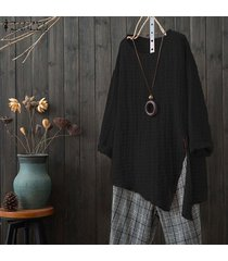 zanzea mujeres floja ocasional sólido superior básico camiseta de manga larga túnica de la blusa -negro