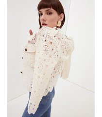 motivi giacca in crochet donna bianco