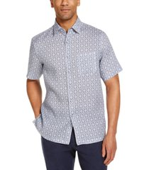 tasso elba men's gocciolina medallion print linen short sleeve woven shirt, created for macy's