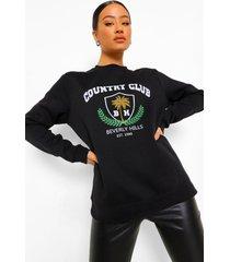 country club sweater met tekst, black